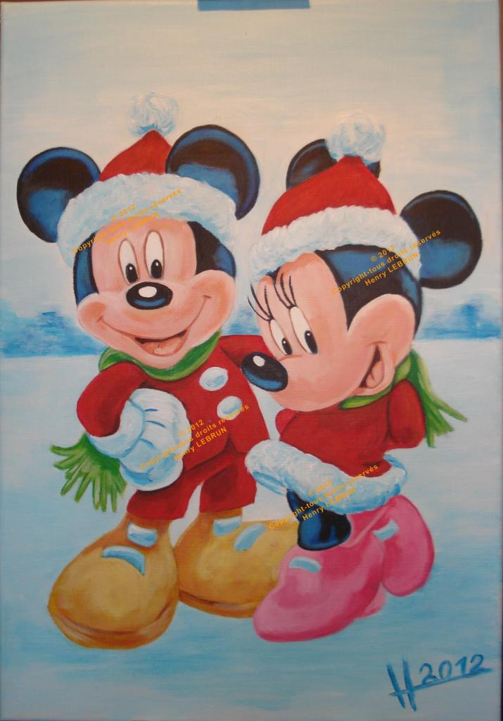 Santa Claus, Mickey Mouse, Minnie Mouse